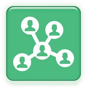 Zeleno belo dugme za povezivanje ljudi u jedan sistem